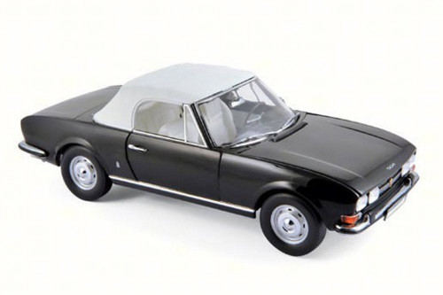 1971 Peugeot 504 Cabriolet Convertible, Black - Norev 184784 - 1/18 Scale Diecast Model Toy Car