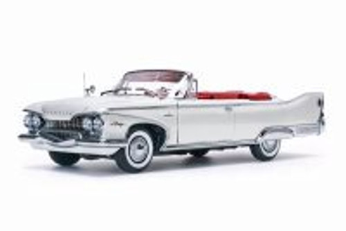 1960 Plymouth Fury, White w/ Red - Sun Star 5403W - 1/18 Scale Diecast Model Toy Car