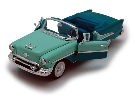 1955 Oldsmobile Super 88 Convertible, Green - Welly 22432 - 1/24 scale Diecast Model Toy Car