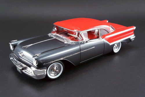 1957 Oldsmobile Super 88 Hard Top, Charcoal Grey/ Festival Red - Acme 1808001 - 1/18 Scale Diecast Model Toy Car