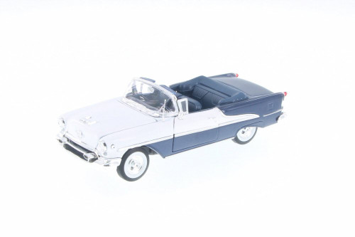 1955 Oldsmobile Super 88, Blue & White - Welly 22432/4D - 1/24 Scale Diecast Model Toy Car