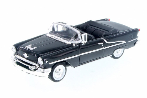 1955 Oldsmobile Super 88 Convertible, Black - Welly 22432WBK - 1/24 Scale Diecast Model Toy Car