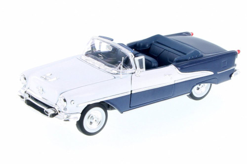 1955 Oldsmobile Super 88 Convertible, Blue w/ White - Welly 22432WBU - 1/24 Scale Diecast Model Toy Car