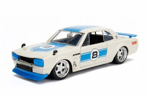 1971 Nissan Skyline GT-R Hard Top, White with blue - Jada 30009DP1 - 1/24 scale Diecast Model Toy Car
