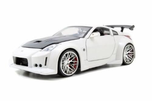 2003 Nissan 350Z, White w/Black hood - Jada Toys 96810 - 1/24 scale Diecast Model Toy Car