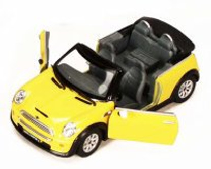 Mini Cooper S Convertible, Yellow - Kinsmart 5089D - 1/28 scale Diecast Model Toy Car