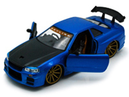 Nissan Skyline GT-R, Blue/Black - Jada Toys Bigtime Kustoms 92356 - 1/24 scale Diecast Model Toy Car (Brand New, but NOT IN BOX)
