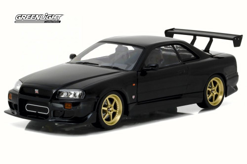 1999 Artisan Nissan Skyline GT-R R34, Black - Greenlight 19030 - 1/18 Scale Diecast Model Toy Car