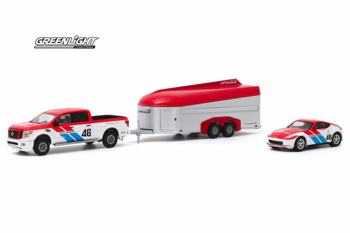 2019 Nissan Titan XD Pro-4X Pickup Truck and 2019 Nissan 370Z #46 with Aerovault MKII Trailer, Brock Racing Enterprises - Greenlight 31090/24 - 1/64 scale Diecast Model Toy Car