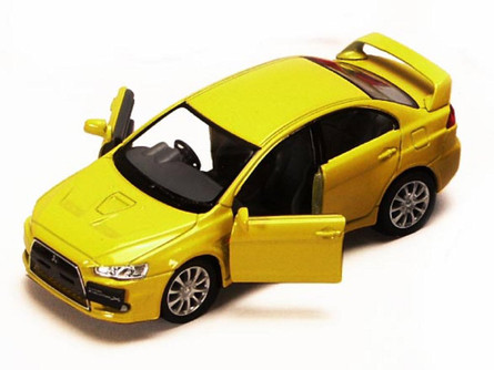 2008 Mitsubishi Lancer Evolution X, Yellow - Kinsmart 5329D - 1/36 scale Diecast Model Toy Car