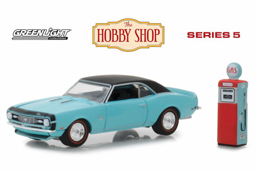 1968 Chevy Camaro SS with Vintage Gas Pump, Blue with Black - Greenlight 97050B/48 - 1/64 scale Diecast Model Toy Car