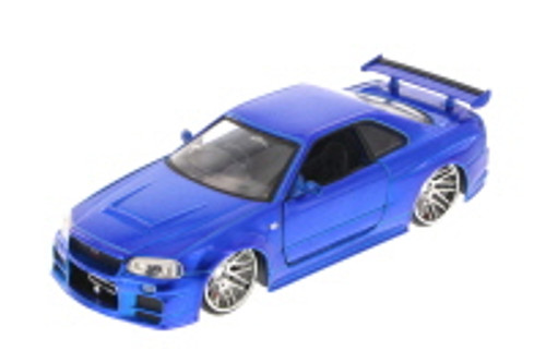 Fast & Furious Brian's Nissan Skyline GT-R, Candy Blue - Jada Toys 97217 - 1/24 Scale Diecast Model Toy Car (Brand New, but NOT IN BOX)