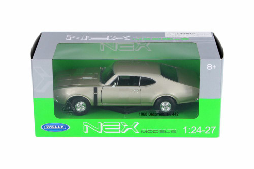 1968 Oldsmobile 442, Gold - Welly 24024WG - 1/24 Scale Diecast Model Toy Car