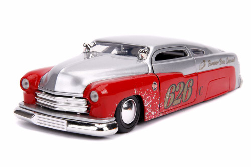 1951 Mercury Custom #626 Bomber Bros Special Hardtop, Silver and Red - Jada 31454 - 1/24 scale Diecast Model Toy Car