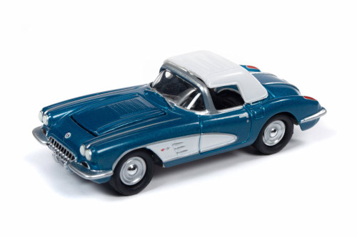 1958 Chevy Corvette Convertible with Top Up, Turquoise with White - Round 2 JLMC021/48B - 1/64 scale Diecast Model Toy Car