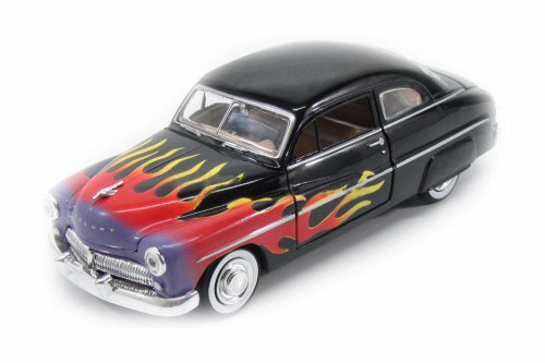 1949 Mercury Coupe with Flames, Black with Flames - Showcasts 73225AC/BKF - 1/24 scale Diecast Model Toy Car