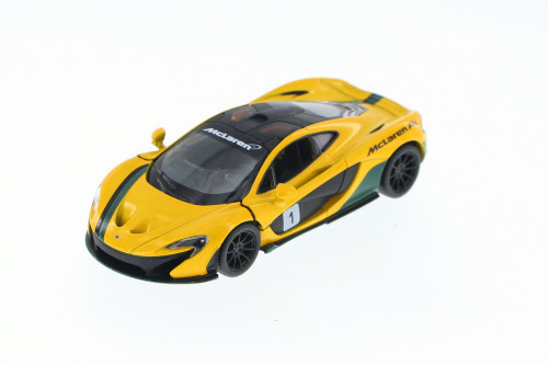 McLaren P1 with Prints, Yellow - Kinsmart 5393DF - 1/36 Scale Diecast Model Toy Car