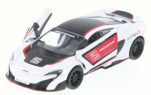 McLaren 675LT with Prints, White w/ Decals - Kinsmart 5392DF - 1/36 Scale Diecast Model Toy Car