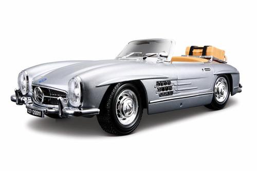 1957 Mercedes-Benz 300 SL Convertible, Silver - Bburago 12049 - 1/18 Scale Diecast Model Toy Car