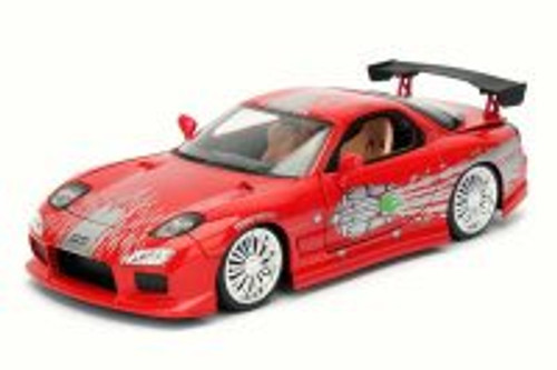 Dom's Mazda RX-7 F8 Fate of Furious, Red - Jada 98645 - 1/24 Scale Diecast Model Toy Car