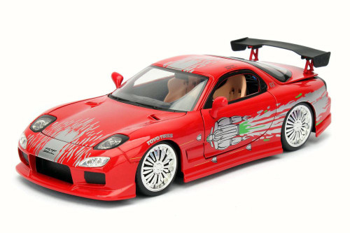 Dom's Mazda RX-7 F8 Fate of Furious, Red - Jada 98338 - 1/24 Scale Diecast Model Toy Car