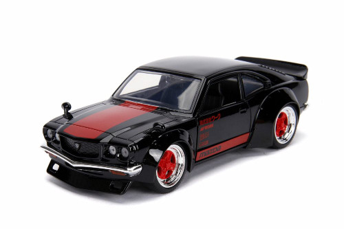 1974 Mazda RX-3, Glossy Black with Red - Jada 30717 - 1/24 scale Diecast Model Toy Car