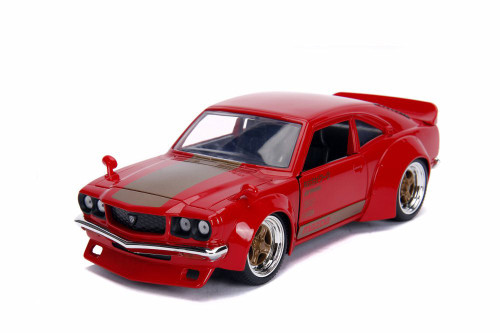 1974 Mazda RX-3, Glossy Red with Gold - Jada 30718 - 1/24 scale Diecast Model Toy Car