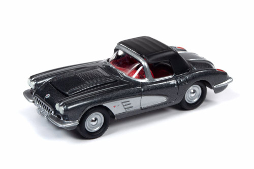 1958 Chevy Corvette Convertible with Top Up, Black with Silver - Round 2 JLMC021/48A - 1/64 scale Diecast Model Toy Car