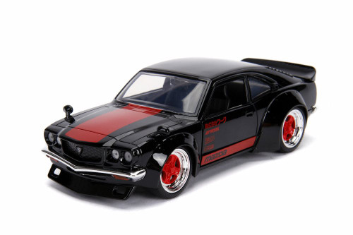 1974 Mazda RX-3, Black with Red - Jada 99775DP1 - 1/24 scale Diecast Model Toy Car