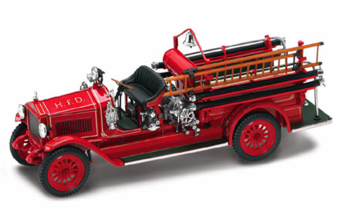 1923 Maxim C1 Fire Engine H.F.D., Red - Yatming 43002 - 1/43 Scale Diecast Model Toy Car