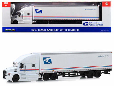 2019 Mack Anthem with Trailer, USPS Mail Truck - Greenlight 30090/24 - 1/64 scale Diecast Model Toy Car