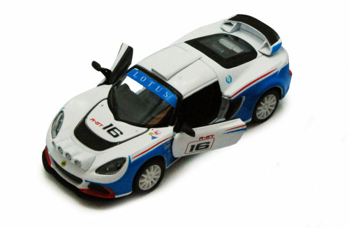 2012 Lotus Exige R-GT #16 Race Car, White & Blue - Kinsmart 5362D - 1/32 scale Diecast Model Toy Car (Brand New, but NOT IN BOX)