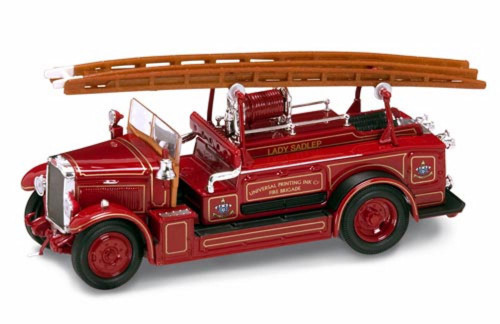 1934 Leyland FK-1 Universal Printing Ink Fire Brigade Fire Engine, Red - Yatming 43009 - 1/43 Scale Diecast Model Toy Car