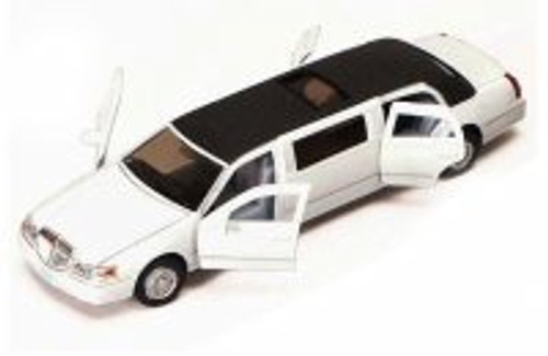 1999 Lincoln Town Car Stretch Limousine, White - Kinsmart 7001DW - 1/38 scale Diecast Model Toy Car