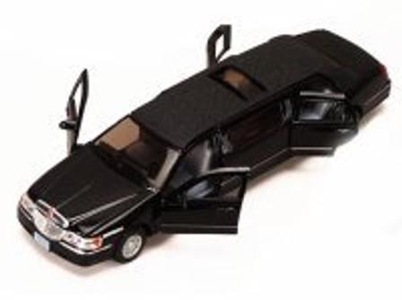 1999 Lincoln Town Car Stretch Limousine, Black - Kinsmart 7001DK - 1/38 scale Diecast Model Toy Car