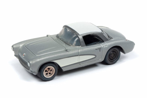 1957 Chevy Corvette, Silver with White Top - Round 2 JLMC020/48A - 1/64 scale Diecast Model Toy Car