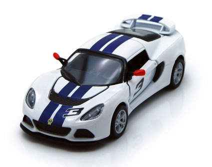 2012 Lotus Exige S Hard Top #3, White with Blue Stripes - Kinsmart 5361DF - 1/32 Scale Diecast Model Replica (Brand New, but NOT IN BOX)