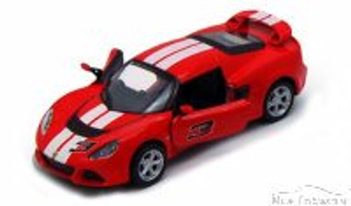 2012 Lotus Exige S Hard Top #3, Red with White Stripes - Kinsmart 5361DF - 1/32 Scale Diecast Model Replica (Brand New, but NOT IN BOX)