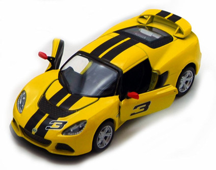 2012 Lotus Exige S Hard Top #3, Yellow with Black Stripes - Kinsmart 5361DF - 1/32 Scale Diecast Model Replica (Brand New, but NOT IN BOX)