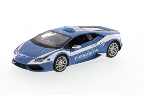 Lamborghini Huracan Polizia, Blue - Showcasts 34511 - 1/24 Scale Diecast Model Toy Car (Brand New, but NOT IN BOX)