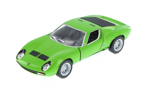 1971 Lamborghini Miura P400 SV Hard Top, Green - Kinsmart 5390D - 1/34 Scale Diecast Model Toy Car