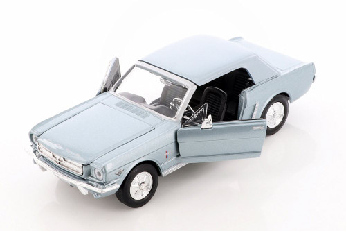 1964.5 Ford Mustang Hard Top, Light Blue - Showcasts 73273AC/BU - 1/24 scale Diecast Model Toy Car