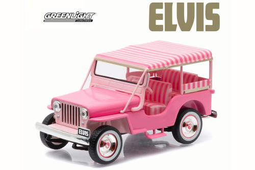 Elvis Presley 1960 Jeep Surrey CJ3B 'Pink Jeep'  - Greenlight 86472 - 1/43 Scale Diecast Model Toy Car