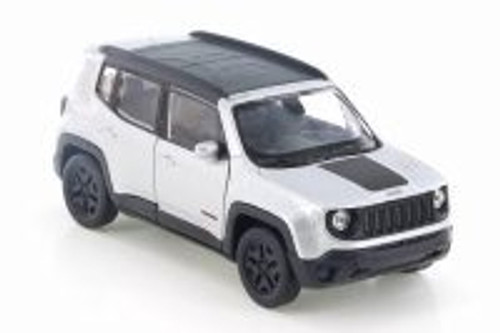 "2017 Jeep Renegade Trailhawk, Silver w/ Black - Welly 43736D - 4.5"" Diecast Model Toy Car"