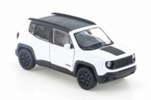 """2017 Jeep Renegade Trailhawk, White w/ Black - Welly 43736D - 4.5"""" Diecast Model Toy Car"""