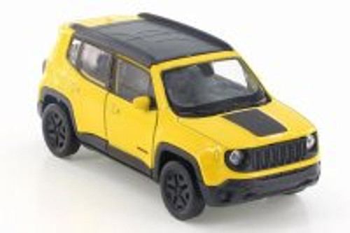 "2017 Jeep Renegade Trailhawk, Yellow w/ Black - Welly 43736D - 4.5"" Diecast Model Toy Car"