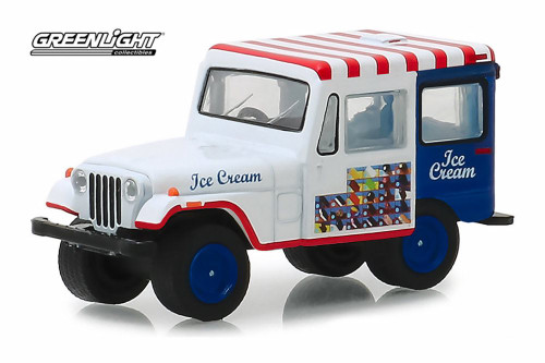 1975 Jeep DJ-5 Ice Cream Truck, White and Blue - Greenlight 30005/48 - 1/64 Scale Diecast Model Toy Car