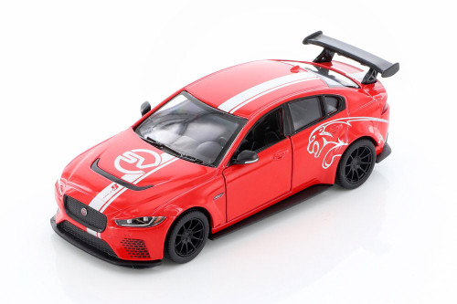 Jaguar Project 8 with Decals Hardtop, Red - Kinsmart 5416DF - 1/38 scale Diecast Model Toy Car