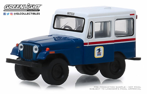 1971 Jeep DJ-5 United States Postal Service, White with Blue - Greenlight 29998/48 - 1/64 scale Diecast Model Toy Car
