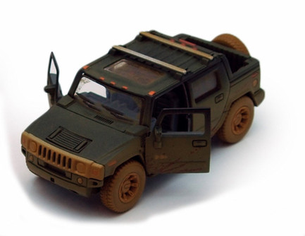 2005 Hummer H2 SUT (Muddy) Pickup Truck, Black - Kinsmart 5097DY - 1/40 scale Diecast Model Toy Car (Brand New, but NOT IN BOX)